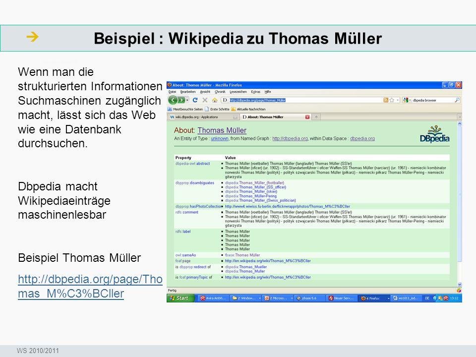 Beispiel : Wikipedia zu Thomas Müller  ArbeitsschritteW Seminar I-Prax: Inhaltserschließung visueller Medien, 5.10.2004 WS 2010/2011 Wenn man die str