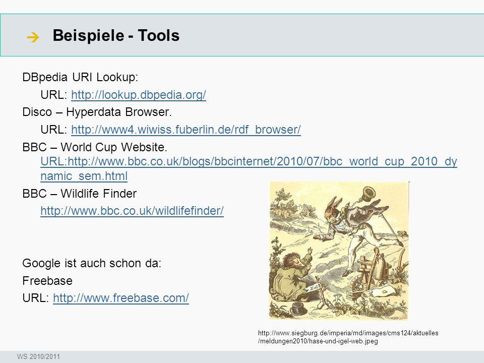 Beispiele - Tools  Seminar I-Prax: Inhaltserschließung visueller Medien, 5.10.2004 WS 2010/2011 DBpedia URI Lookup: URL: http://lookup.dbpedia.org/http://lookup.dbpedia.org/ Disco – Hyperdata Browser.