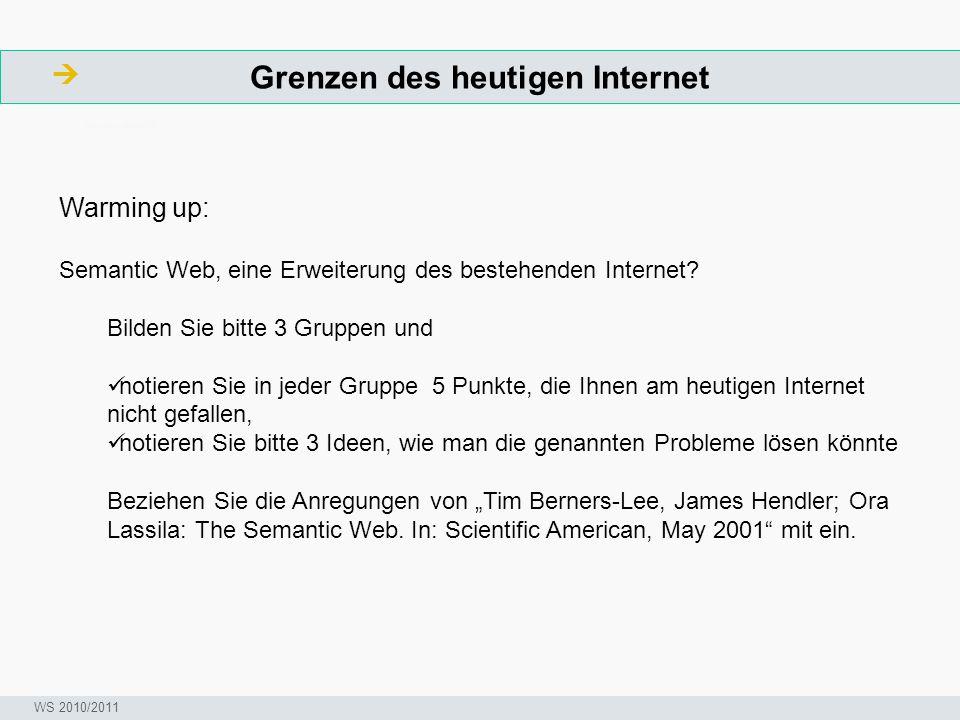 Grenzen des heutigen Internet  ArbeitsschritteW Seminar I-Prax: Inhaltserschließung visueller Medien, 5.10.2004 WS 2010/2011 Warming up: Semantic Web