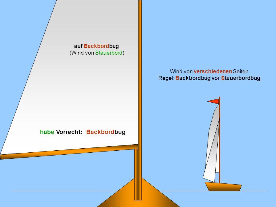 Wind von gleicher Seite Regel: Lee vor Luv auf Backbordbug (Wind von Steuerbord) habe kein Vorrecht: Luvstellung !