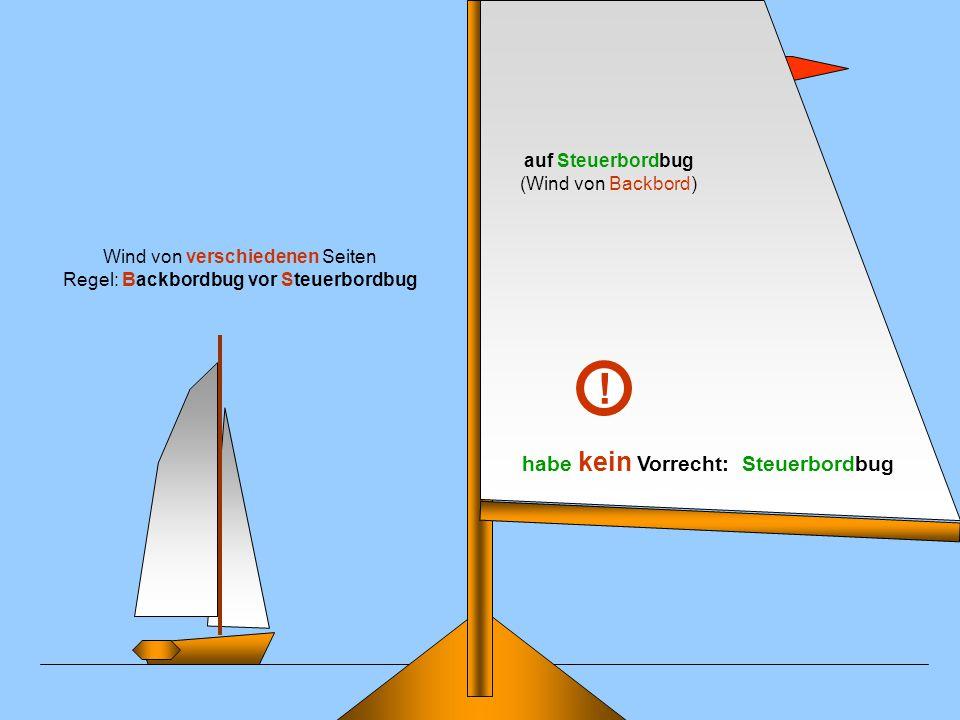 auf Steuerbordbug (Wind von Backbord) Wind von verschiedenen Seiten Regel: Backbordbug vor Steuerbordbug habe kein Vorrecht: Steuerbordbug !