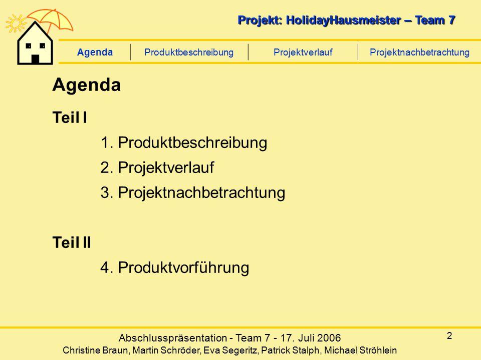 Abschlusspräsentation - Team 7 - 17. Juli 2006 Christine Braun, Martin Schröder, Eva Segeritz, Patrick Stalph, Michael Ströhlein Projekt: HolidayHausm