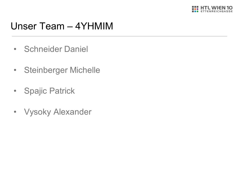 Unser Team – 4YHMIM Schneider Daniel Steinberger Michelle Spajic Patrick Vysoky Alexander