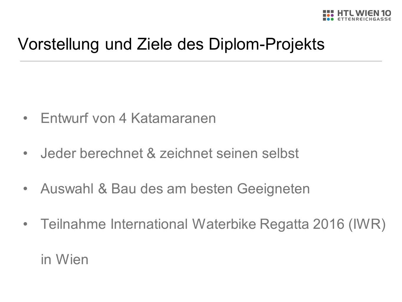 Vorstellung und Ziele des Diplom-Projekts Entwurf von 4 Katamaranen Jeder berechnet & zeichnet seinen selbst Auswahl & Bau des am besten Geeigneten Teilnahme International Waterbike Regatta 2016 (IWR) in Wien