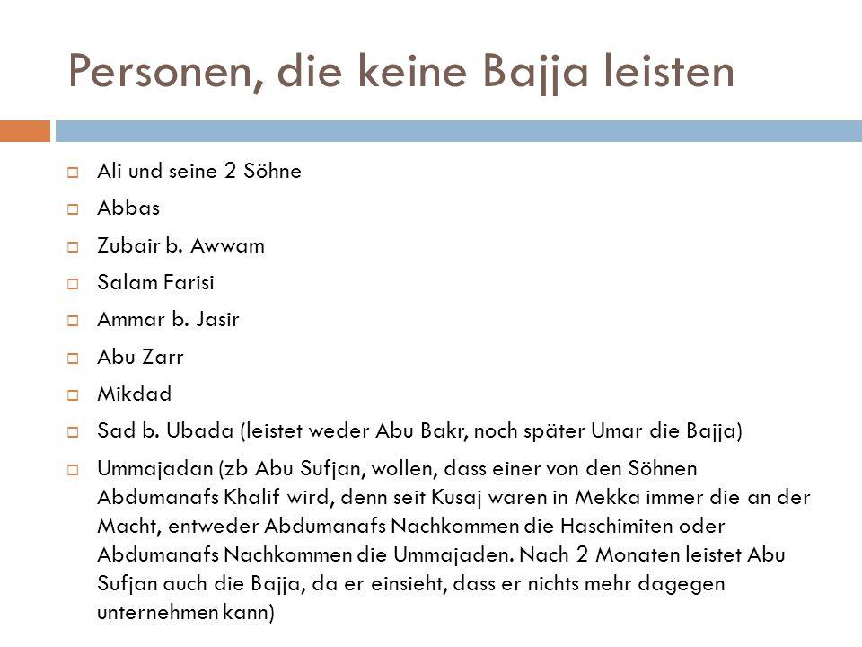 Personen, die keine Bajja leisten  Ali und seine 2 Söhne  Abbas  Zubair b. Awwam  Salam Farisi  Ammar b. Jasir  Abu Zarr  Mikdad  Sad b. Ubada