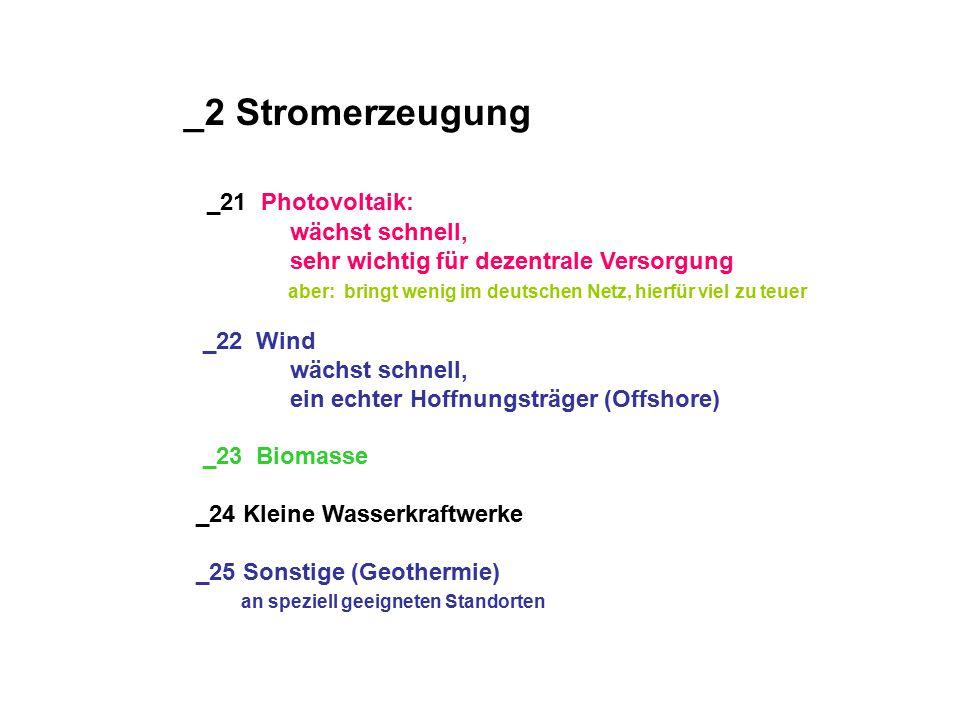 _2 Stromerzeugung _21 Photovoltaik: wächst schnell, sehr wichtig für dezentrale Versorgung aber: bringt wenig im deutschen Netz, hierfür viel zu teuer