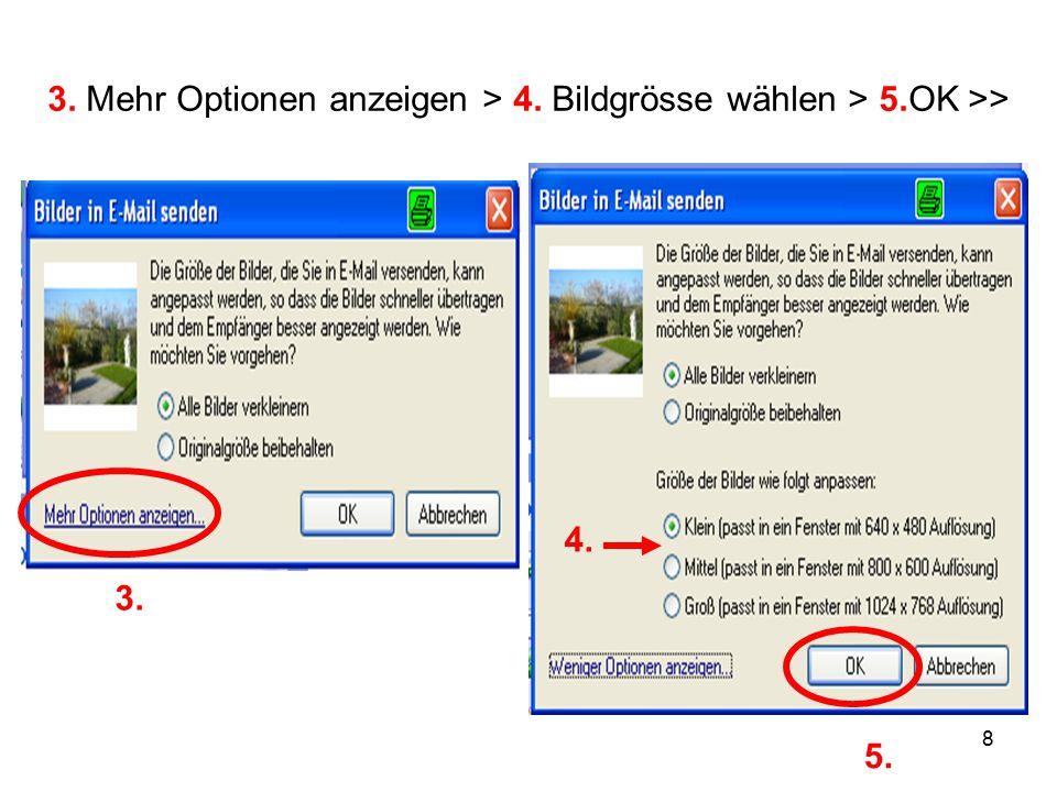 8 3. Mehr Optionen anzeigen > 4. Bildgrösse wählen > 5.OK >> 3. 4. 5.