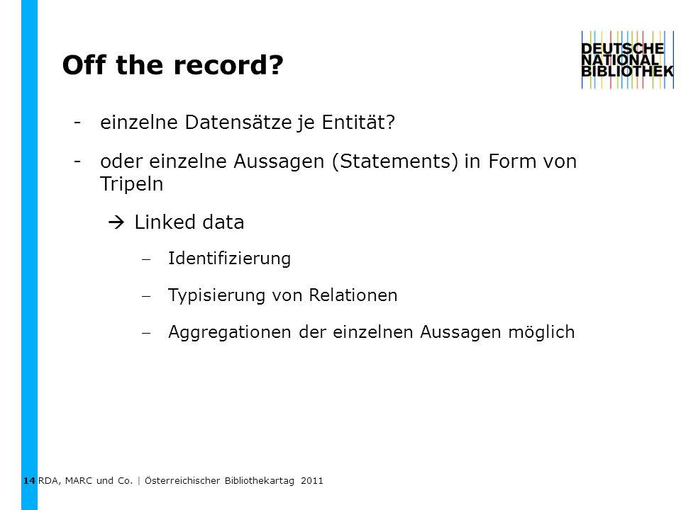RDA, MARC und Co. | Österreichischer Bibliothekartag 2011 Off the record.