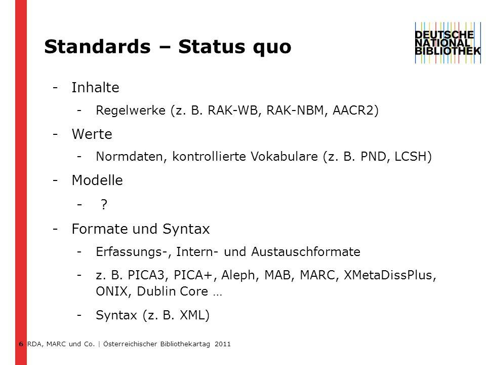 RDA, MARC und Co.| Österreichischer Bibliothekartag 2011 Zukünftiges & zukunftfähiges Format.