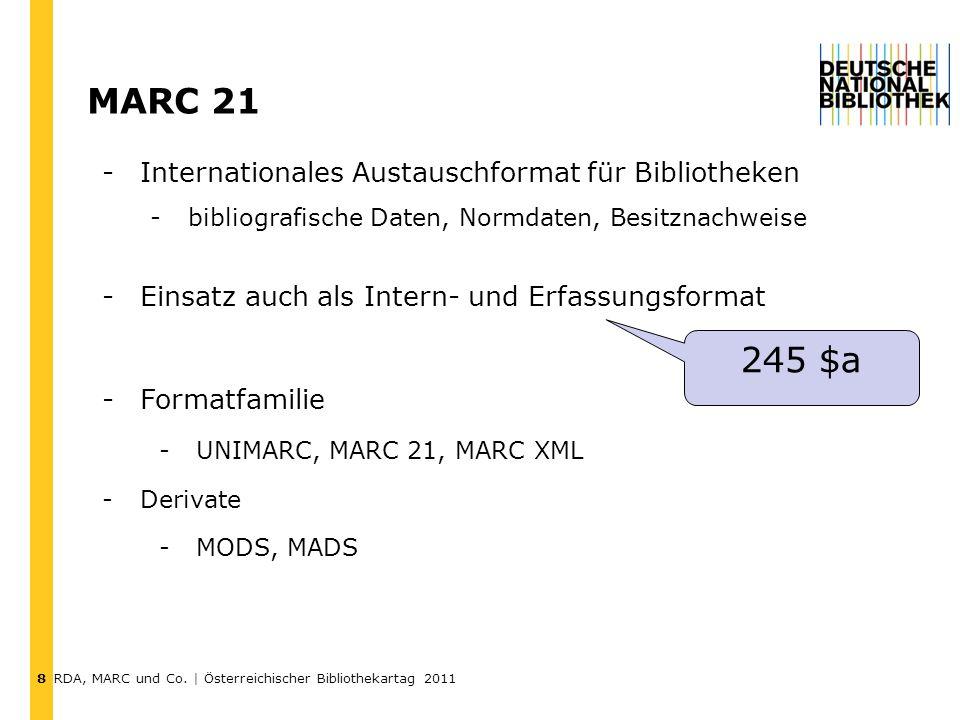 RDA, MARC und Co. | Österreichischer Bibliothekartag 2011 Vielen Dank! Fragen? 19 s.hartmann@dnb.de