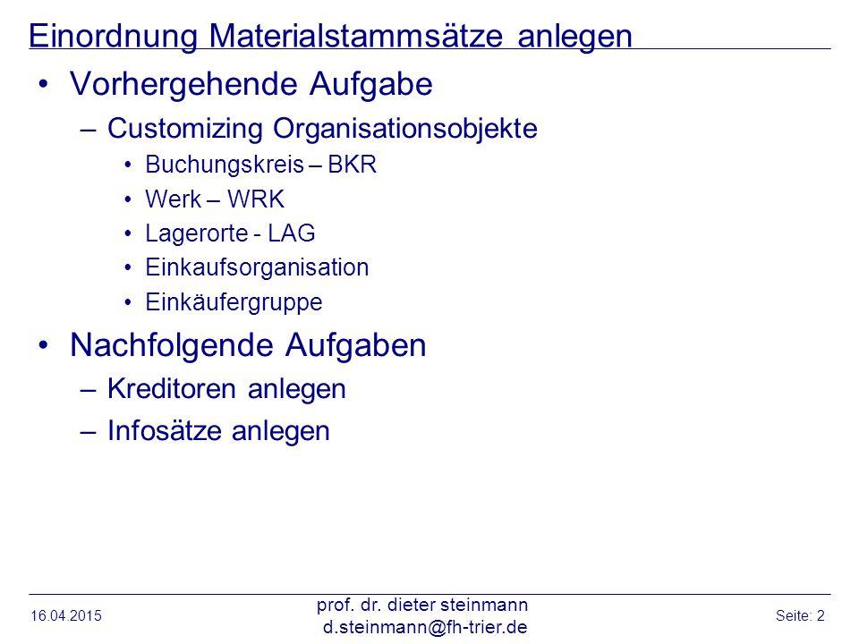 Einordnung Materialstammsätze anlegen Vorhergehende Aufgabe –Customizing Organisationsobjekte Buchungskreis – BKR Werk – WRK Lagerorte - LAG Einkaufso