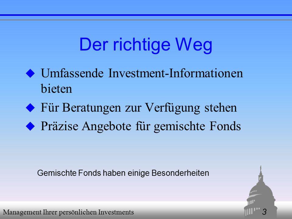 4 Management Ihrer persönlichen Investments Entscheidungshilfen  Welche Ziele habe ich.