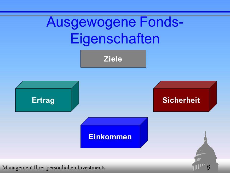 6 Management Ihrer persönlichen Investments Ausgewogene Fonds- Eigenschaften SicherheitErtrag Einkommen Ziele