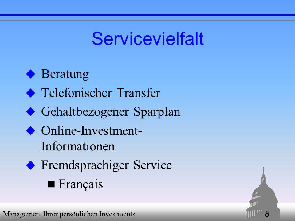 8 Management Ihrer persönlichen Investments Servicevielfalt  Beratung  Telefonischer Transfer  Gehaltbezogener Sparplan  Online-Investment- Informationen  Fremdsprachiger Service Français