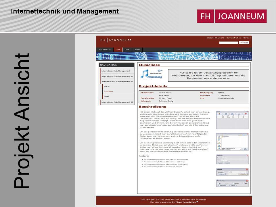 Internettechnik und Management Projekt Ansicht