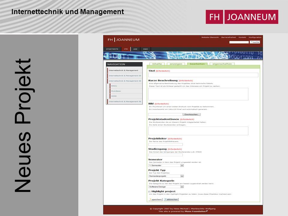 Internettechnik und Management Neues Projekt