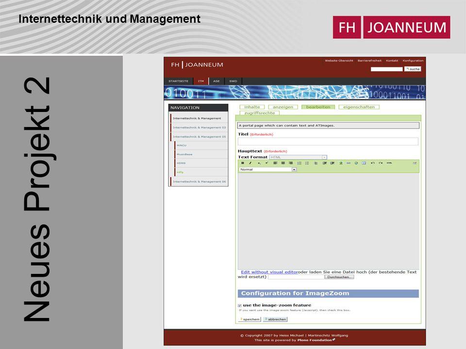 Internettechnik und Management Neues Projekt 2