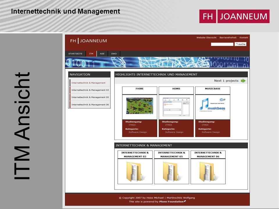 Internettechnik und Management ITM Ansicht