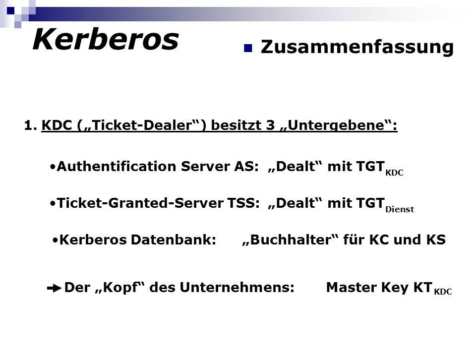 "Kerberos Zusammenfassung 1.KDC (""Ticket-Dealer"") besitzt 3 ""Untergebene"": Dienst KDC Authentification Server AS: ""Dealt"" mit TGT Ticket-Granted-Server"
