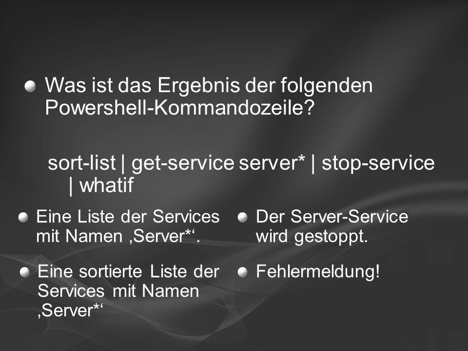 Eine Liste der Services mit Namen 'Server*'. Der Server-Service wird gestoppt.