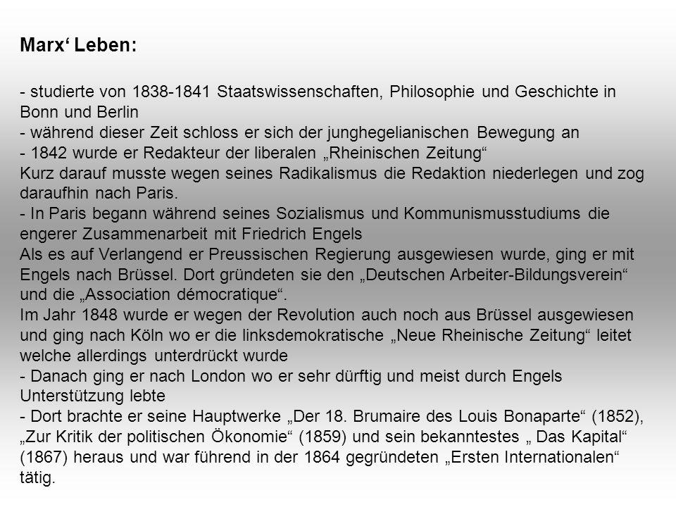 """- studierte von 1838-1841 Staatswissenschaften, Philosophie und Geschichte in Bonn und Berlin - während dieser Zeit schloss er sich der junghegelianischen Bewegung an - 1842 wurde er Redakteur der liberalen """"Rheinischen Zeitung Kurz darauf musste wegen seines Radikalismus die Redaktion niederlegen und zog daraufhin nach Paris."""