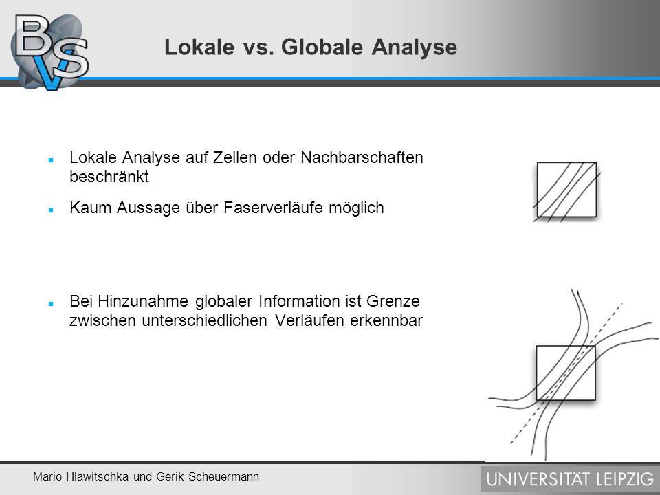 Mario Hlawitschka und Gerik Scheuermann Analyse von Faserbahnen Anforderung an Abstandsmaße: Symmetrie, keine Abhängigkeit von der Linienrichtung Effizient berechenbar Untersuchte Maße: Maximaler Abstand der Linien:max a d(i a,j a ) Mittlerer Punktabstand: avg d(i a,j a ) Norm der linearen Verschiebung:|| A T A|| 2 mit L' = L + A dx Abstand der Endpunkte:d(i 1,j 1 ) + d(i N,j N )