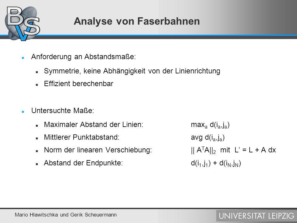Mario Hlawitschka und Gerik Scheuermann Analyse von Faserbahnen Anforderung an Abstandsmaße: Symmetrie, keine Abhängigkeit von der Linienrichtung Effi