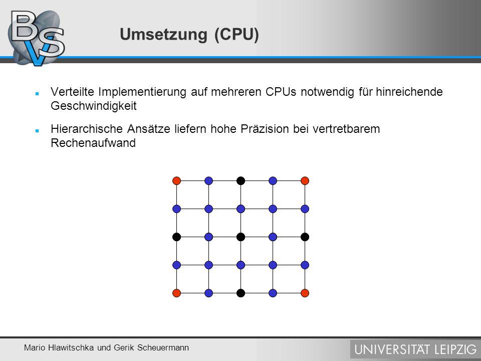 Mario Hlawitschka und Gerik Scheuermann Umsetzung (GPU) Leichte Parallelisierbarkeit: Nutzung der Grafikkarte als Parallelrechner Geschwindigkeiten im interaktiven Bereich (ca.