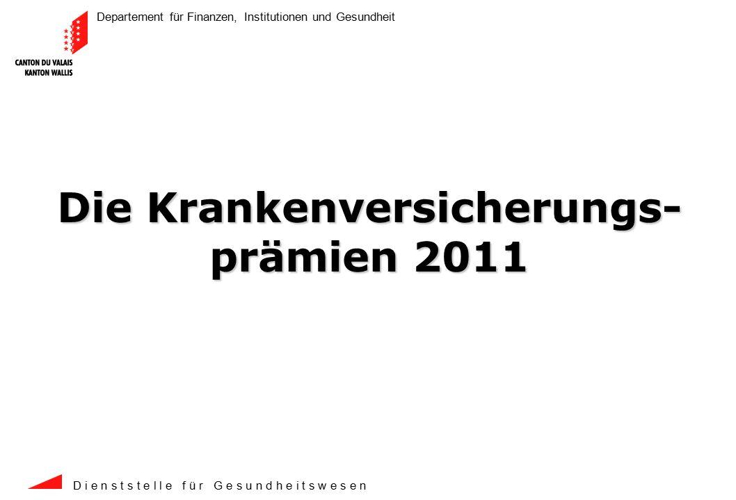 Departement für Finanzen, Institutionen und Gesundheit D i e n s t s t e l l e f ü r G e s u n d h e i t s w e s e n 2 In Franken ist die Walliser Durchschnittsprämie (CHF +22) um 1 Franken weniger gestiegen als die schweizerische Durchschnittsprämie (CHF +23).