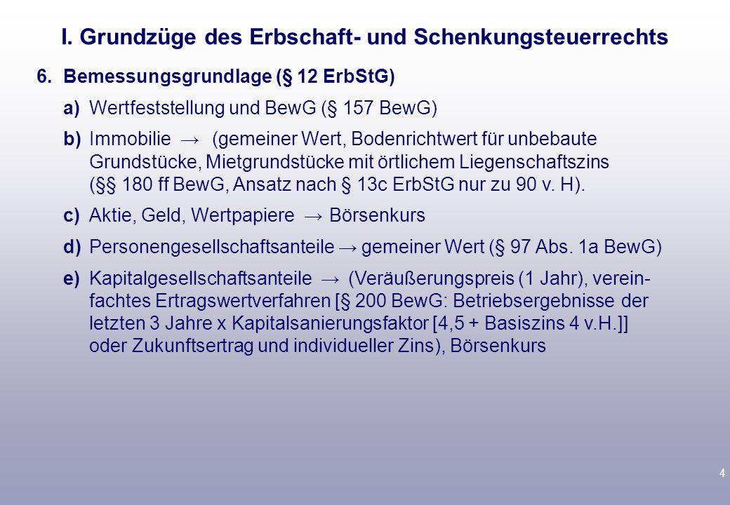 4 6.Bemessungsgrundlage (§ 12 ErbStG) a)Wertfeststellung und BewG (§ 157 BewG) b)Immobilie → (gemeiner Wert, Bodenrichtwert für unbebaute Grundstücke, Mietgrundstücke mit örtlichem Liegenschaftszins (§§ 180 ff BewG, Ansatz nach § 13c ErbStG nur zu 90 v.