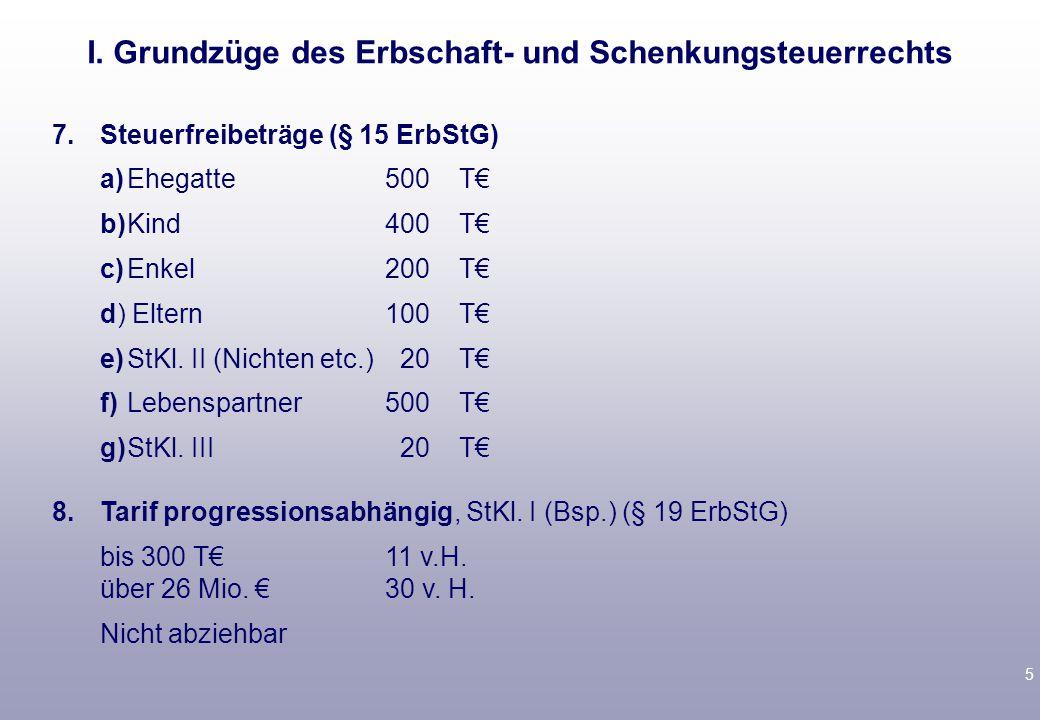5 7.Steuerfreibeträge (§ 15 ErbStG) a)Ehegatte500 T€ b)Kind400 T€ c)Enkel 200 T€ d) Eltern100 T€ e)StKl.
