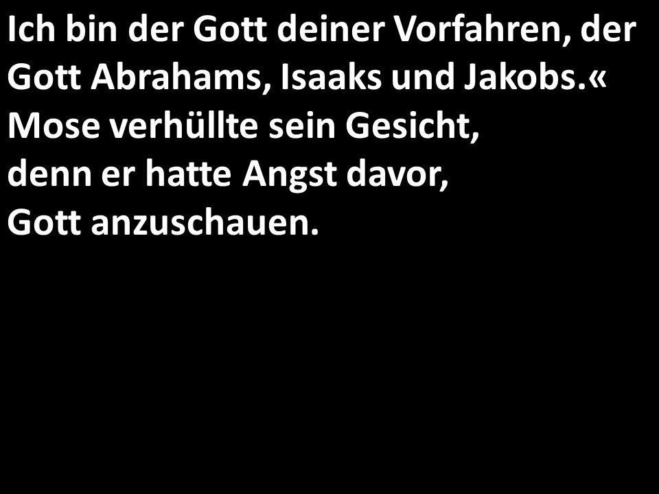 Ich bin der Gott deiner Vorfahren, der Gott Abrahams, Isaaks und Jakobs.« Mose verhüllte sein Gesicht, denn er hatte Angst davor, Gott anzuschauen.