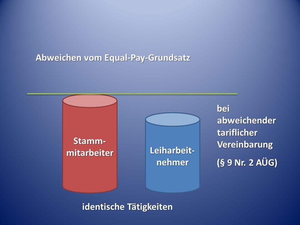 Abweichen vom Equal-Pay-Grundsatz Stamm- mitarbeiter Leiharbeit- nehmer bei abweichender tariflicher Vereinbarung (§ 9 Nr. 2 AÜG) identische Tätigkeit