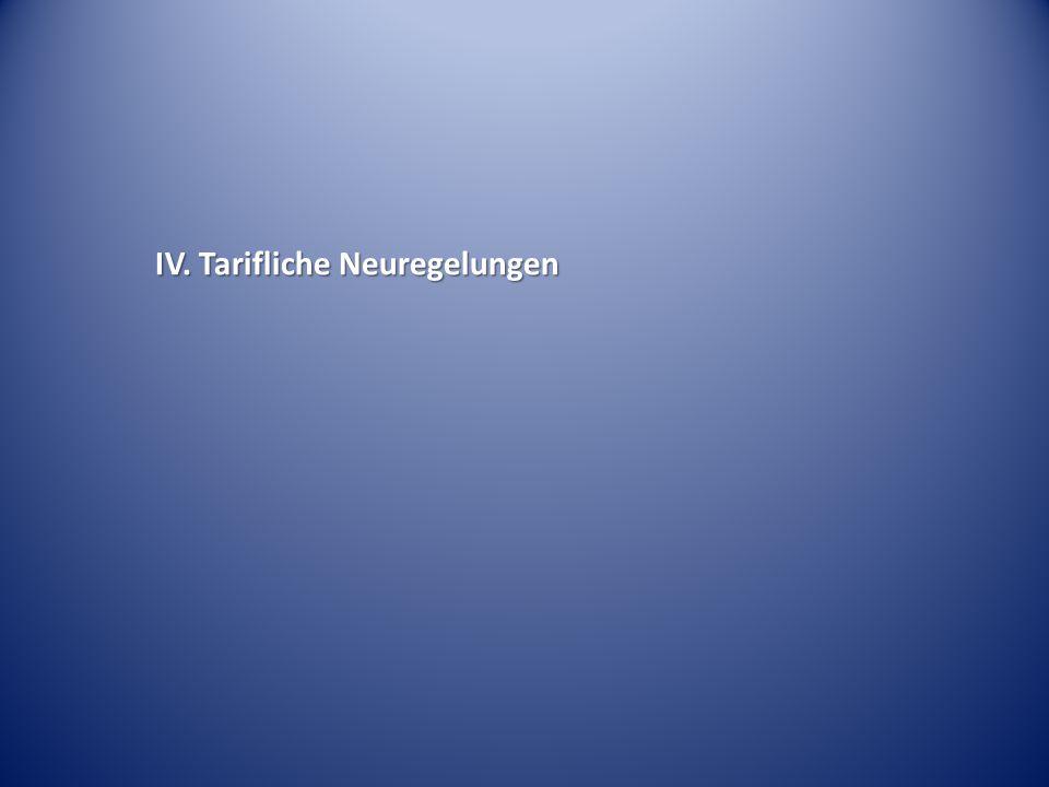 IV. Tarifliche Neuregelungen