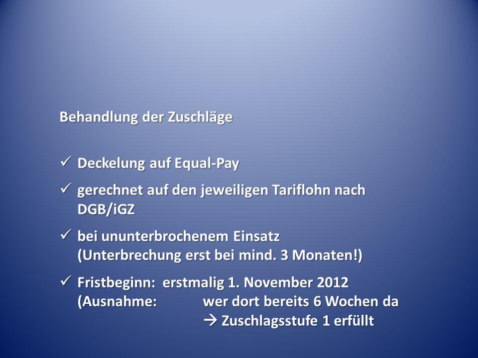 Behandlung der Zuschläge Deckelung auf Equal-Pay Deckelung auf Equal-Pay gerechnet auf den jeweiligen Tariflohn nach DGB/iGZ gerechnet auf den jeweili
