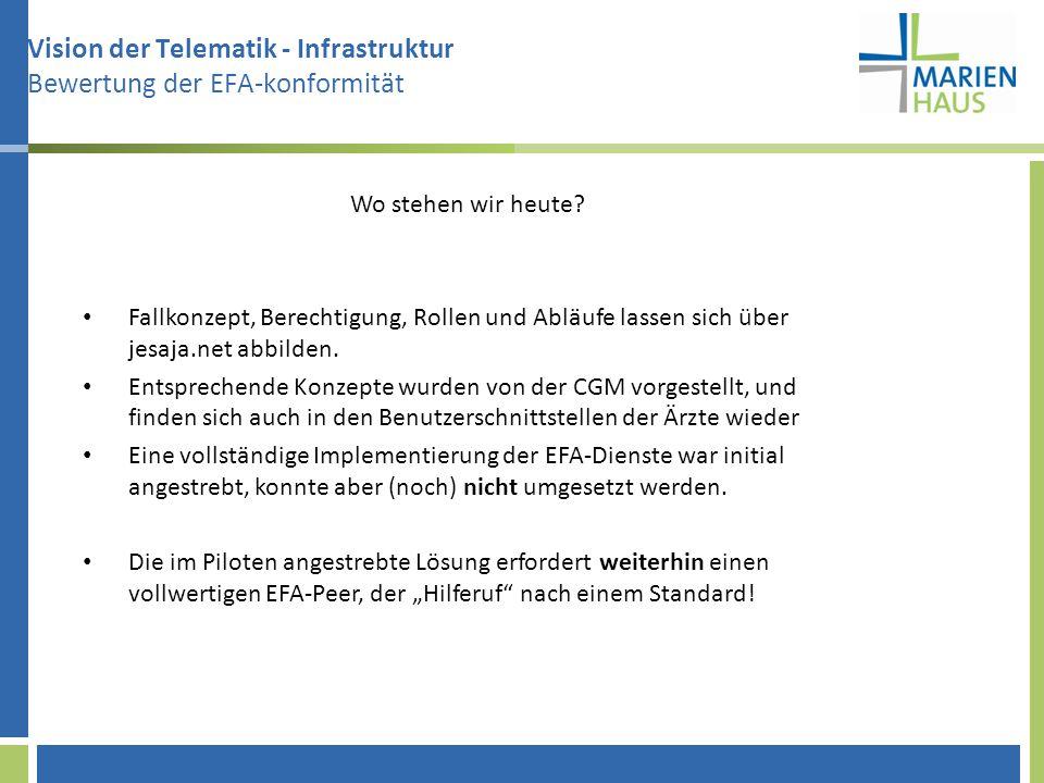 Vision der Telematik - Infrastruktur Bewertung der EFA-konformität Wo stehen wir heute? Fallkonzept, Berechtigung, Rollen und Abläufe lassen sich über