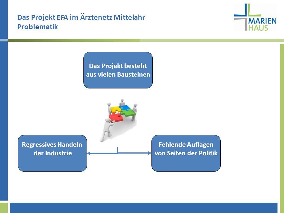 Das Projekt EFA im Ärztenetz Mittelahr Problematik Das Projekt besteht aus vielen Bausteinen Fehlende Auflagen von Seiten der Politik Regressives Handeln der Industrie