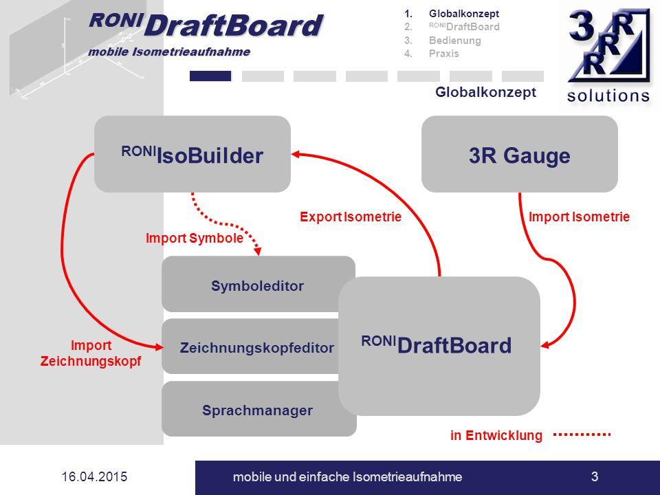 RONI DraftBoard mobile Isometrieaufnahme 16.04.2015mobile und einfache Isometrieaufnahme3 Zeichnungskopfeditor Globalkonzept 1.Globalkonzept 2. RONI D