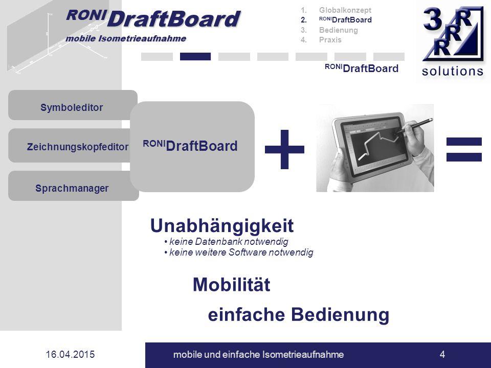 RONI DraftBoard mobile Isometrieaufnahme 16.04.2015mobile und einfache Isometrieaufnahme4 RONI DraftBoard 1.Globalkonzept 2. RONI DraftBoard 3.Bedienu