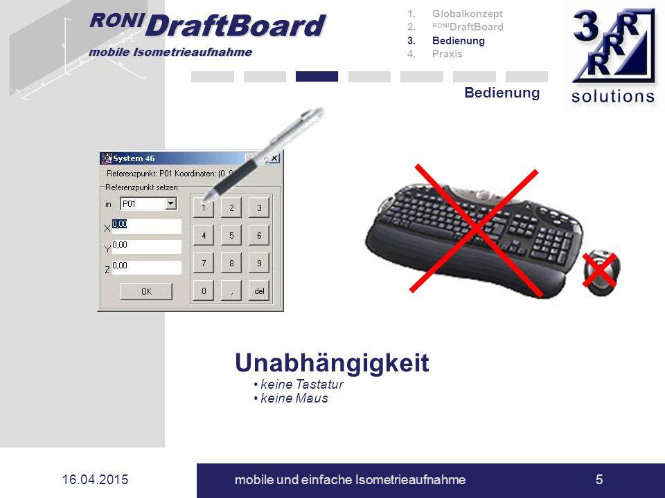 RONI DraftBoard mobile Isometrieaufnahme 16.04.2015mobile und einfache Isometrieaufnahme5 Bedienung 1.Globalkonzept 2. RONI DraftBoard 3.Bedienung 4.P