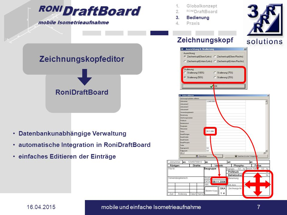 RONI DraftBoard mobile Isometrieaufnahme 16.04.2015mobile und einfache Isometrieaufnahme7 Zeichnungskopf 1.Globalkonzept 2. RONI DraftBoard 3.Bedienun
