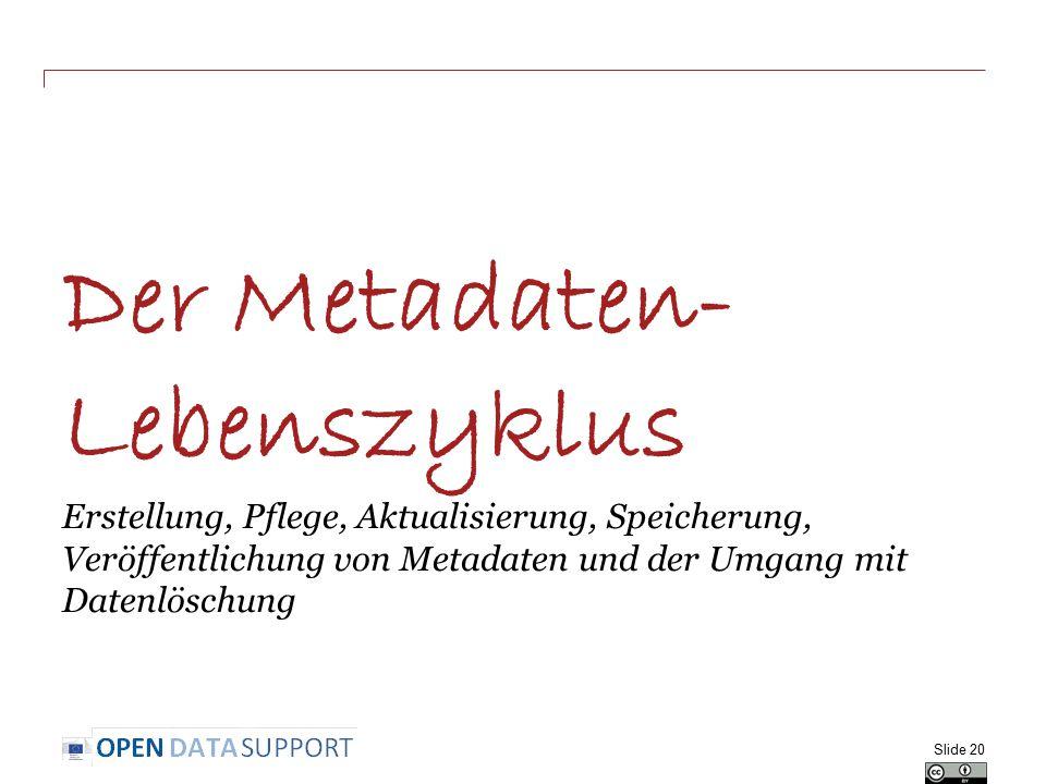 Der Metadaten- Lebenszyklus Erstellung, Pflege, Aktualisierung, Speicherung, Veröffentlichung von Metadaten und der Umgang mit Datenlöschung Slide 20