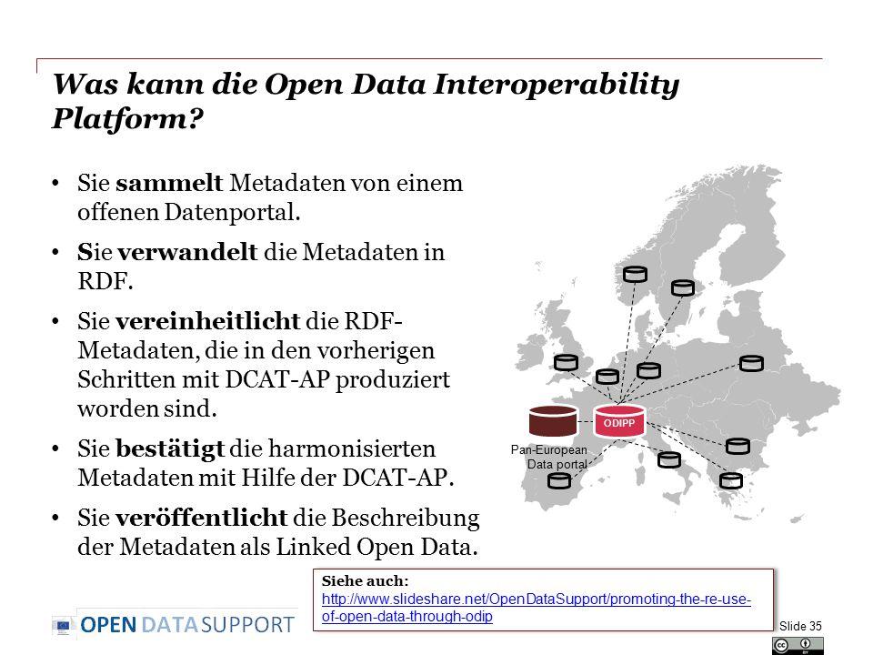 Was kann die Open Data Interoperability Platform? Sie sammelt Metadaten von einem offenen Datenportal. Sie verwandelt die Metadaten in RDF. Sie verein