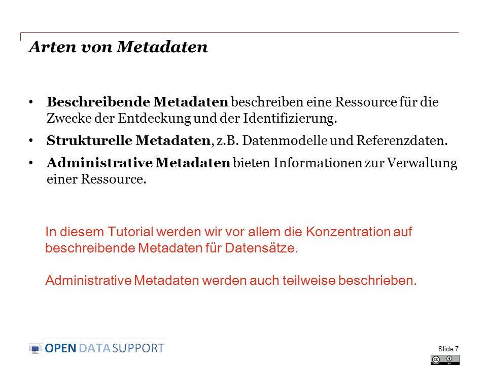 Beispiele für Metadaten Slide 8 Can Book Dataset Label Catalogue card Dataset description (DCAT) liefert Metadaten für
