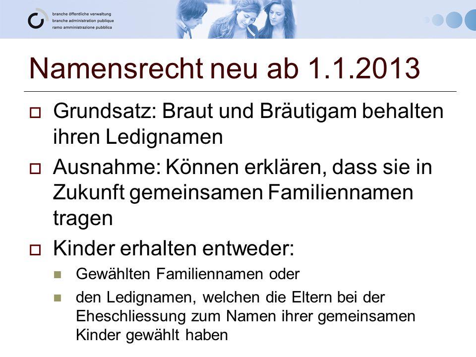 Namensrecht neu ab 1.1.2013  Grundsatz: Braut und Bräutigam behalten ihren Ledignamen  Ausnahme: Können erklären, dass sie in Zukunft gemeinsamen Fa