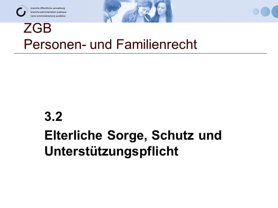 ZGB Personen- und Familienrecht 3.2 Elterliche Sorge, Schutz und Unterstützungspflicht