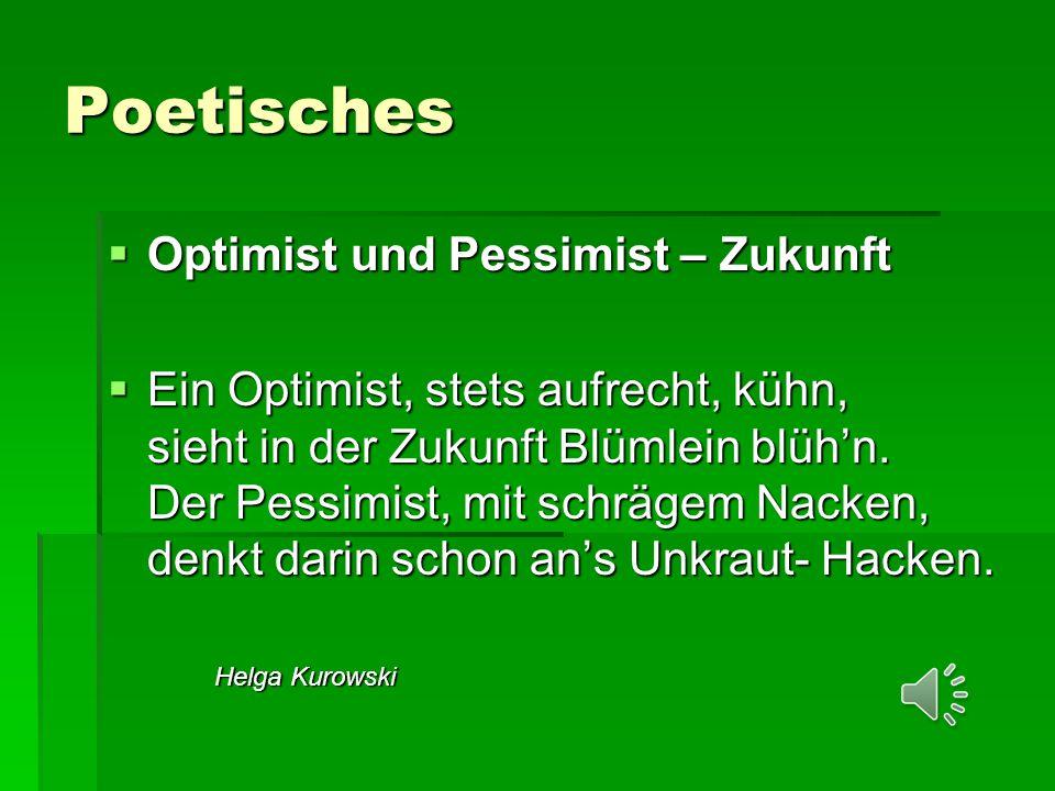 Poetisches  Optimist und Pessimist – Zukunft  Ein Optimist, stets aufrecht, kühn, sieht in der Zukunft Blümlein blüh'n.