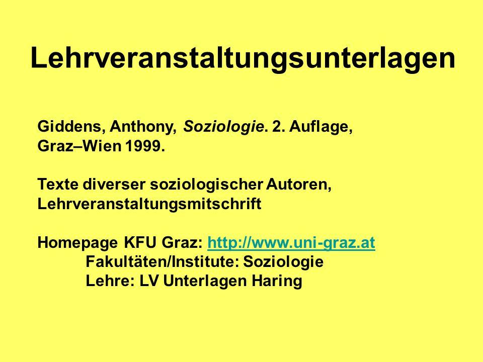 Lehrveranstaltungsunterlagen Giddens, Anthony, Soziologie.