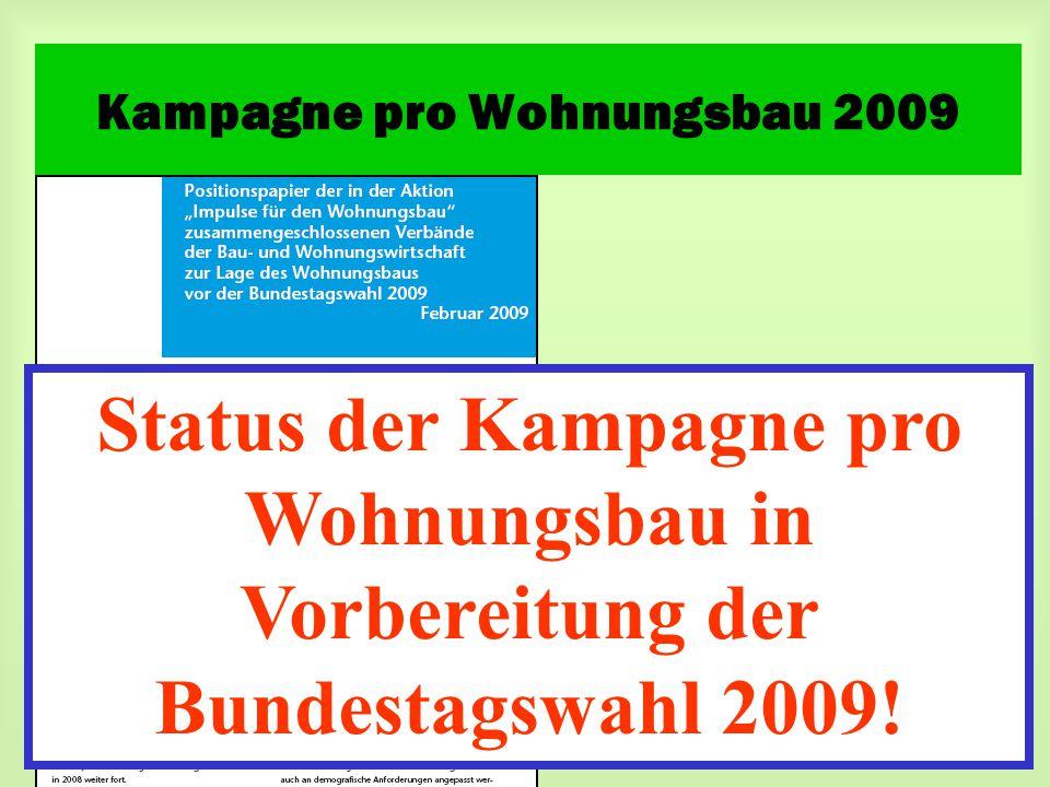 Kampagne pro Wohnungsbau 2009 Status der Kampagne pro Wohnungsbau in Vorbereitung der Bundestagswahl 2009!