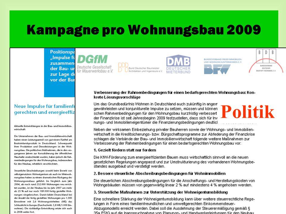 Politik Kampagne pro Wohnungsbau 2009